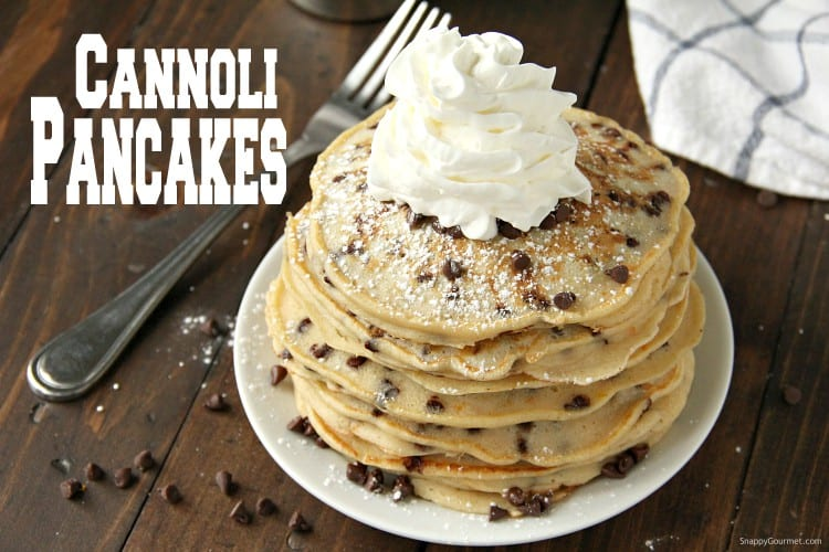 stack of cannoli pancakes