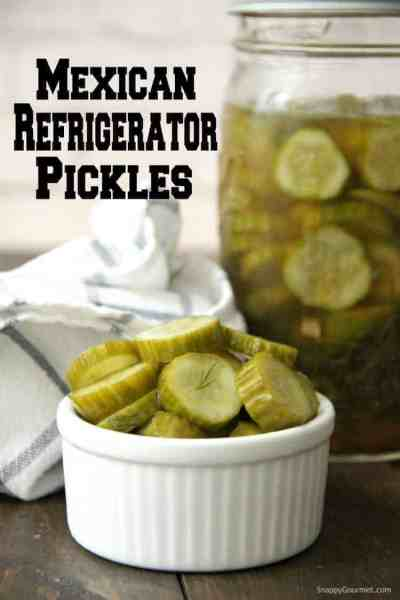 Mexican Refrigerator Pickles in small white ramekin