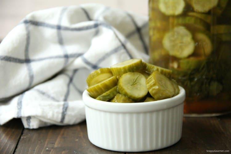 Mexican Refrigerator Pickles in small white ramekin