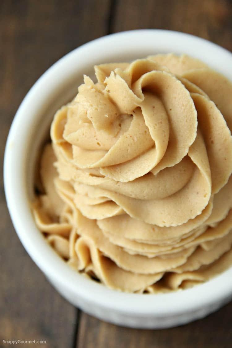 fluffy peanut butter frosting in ramekin