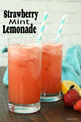 Strawberry Mint Lemonade in glass