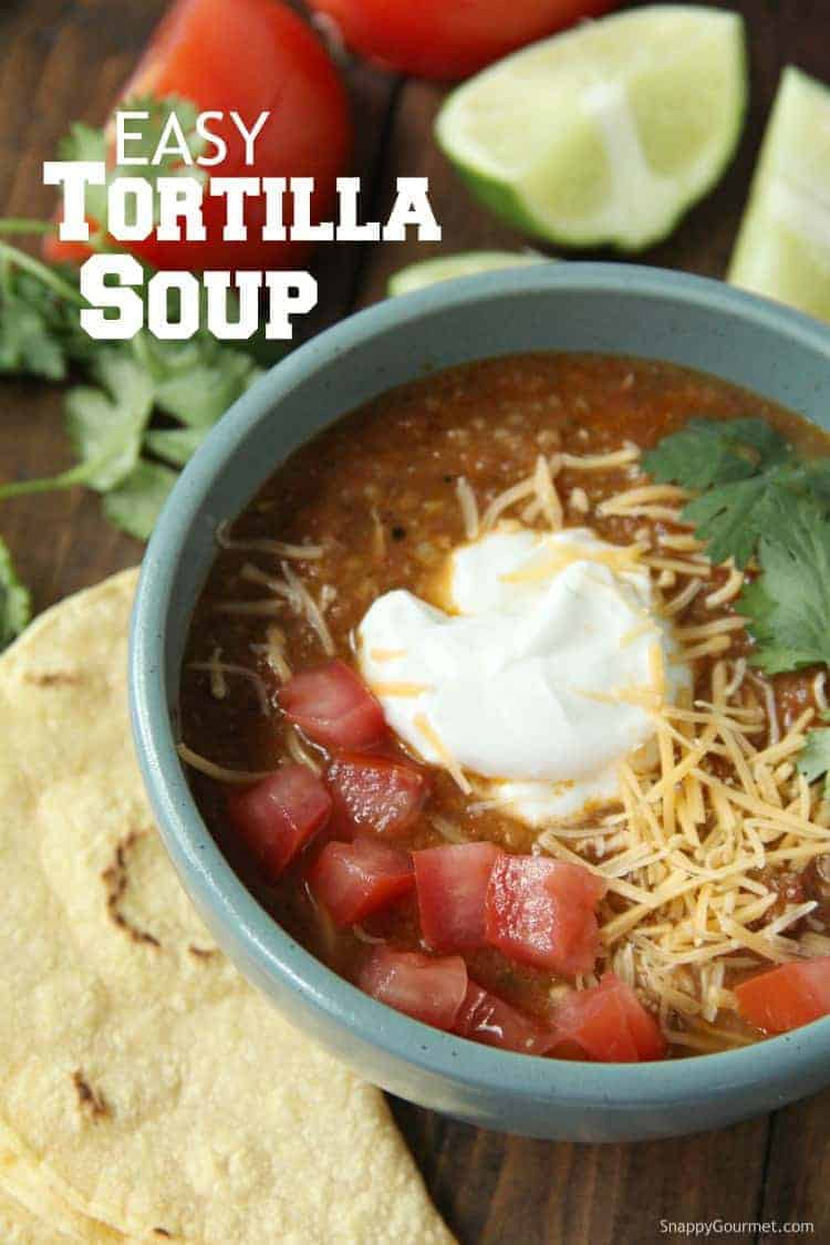 Chicken Tortilla Soup in bowl with toppings