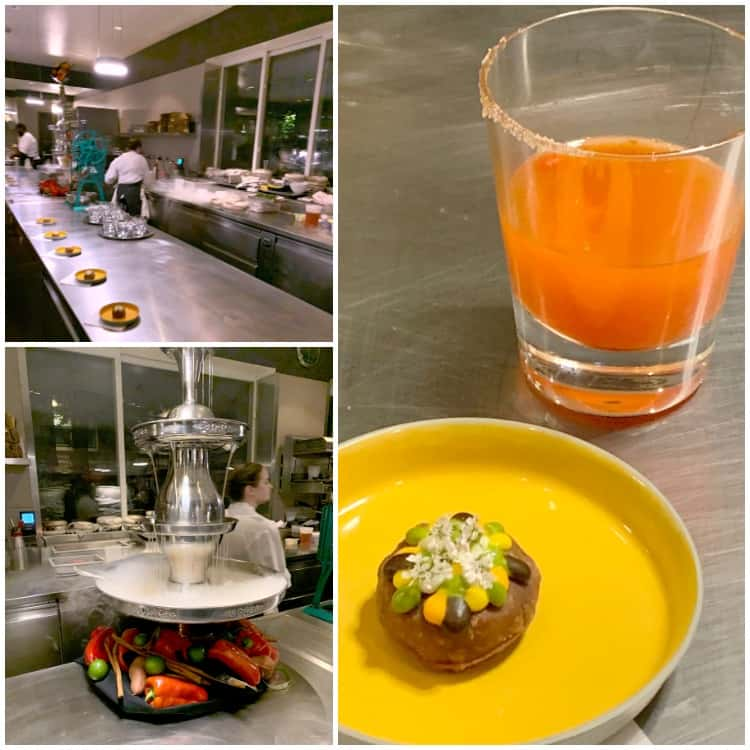 photo collage of kitchen, cocktail, and food