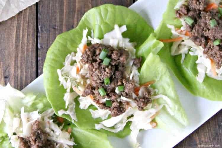 Korean BBQ Beef in lettuce wrap