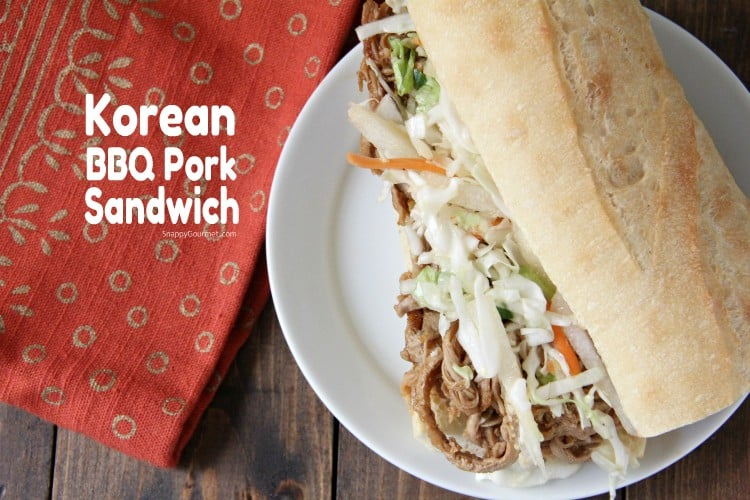 Korean BBQ Pork Sandwich on plate