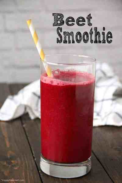 beet smoothie in glass