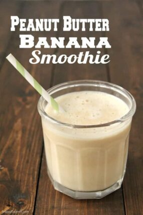Peanut Butter Banana Smoothie in glass on table