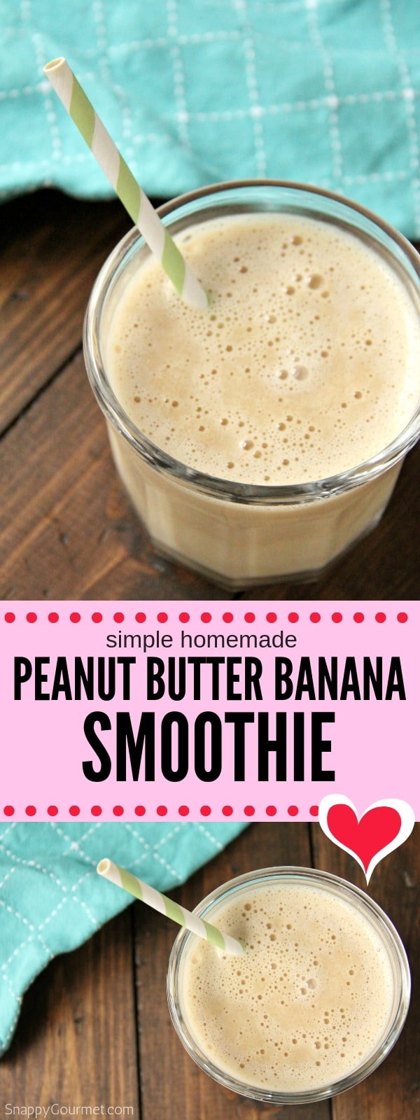 photo collage of Peanut Butter Banana Smoothie