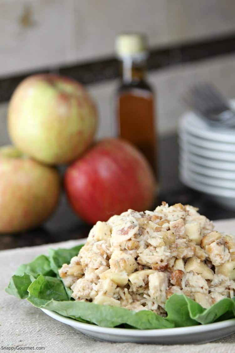 chicken salad with apples on plate