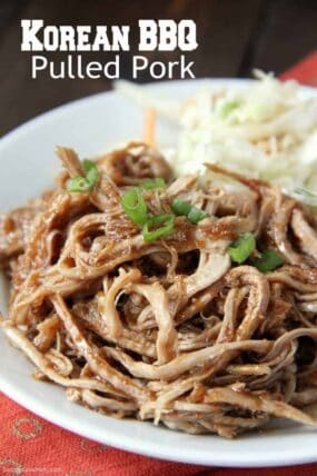 pulled pork with Korean BBQ sauce on plate