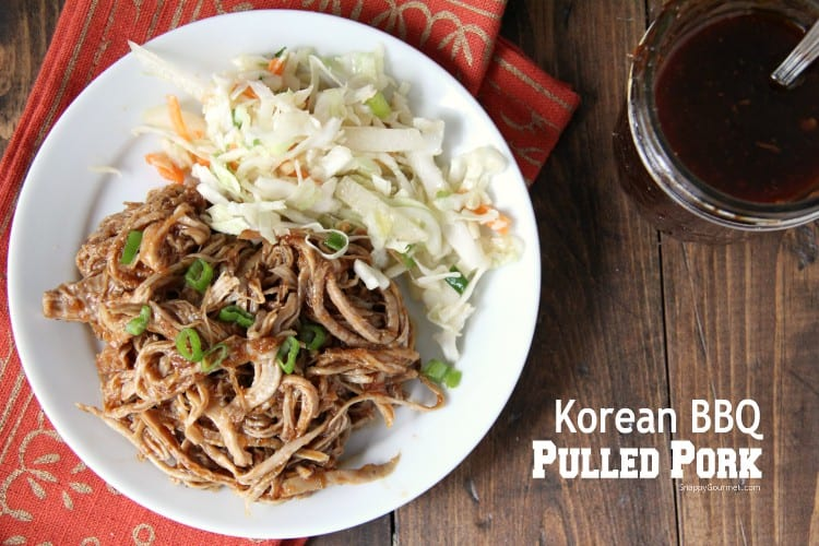 Korean BBQ pulled pork with sauce and slaw