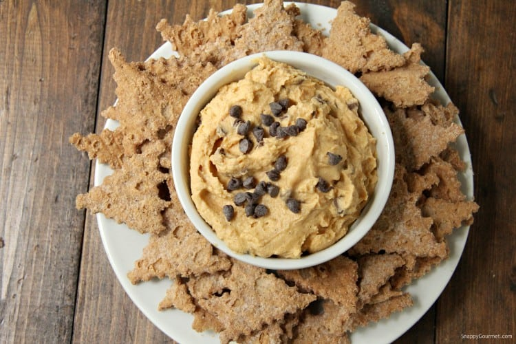 pumpkin cannoli dip in bowl with cannoli chips
