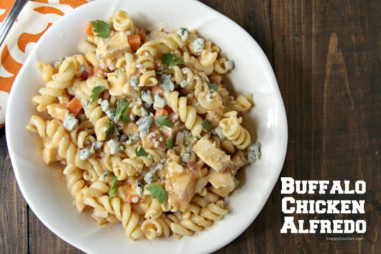 Buffalo Chicken Alfredo Pasta with vegetables in bowl
