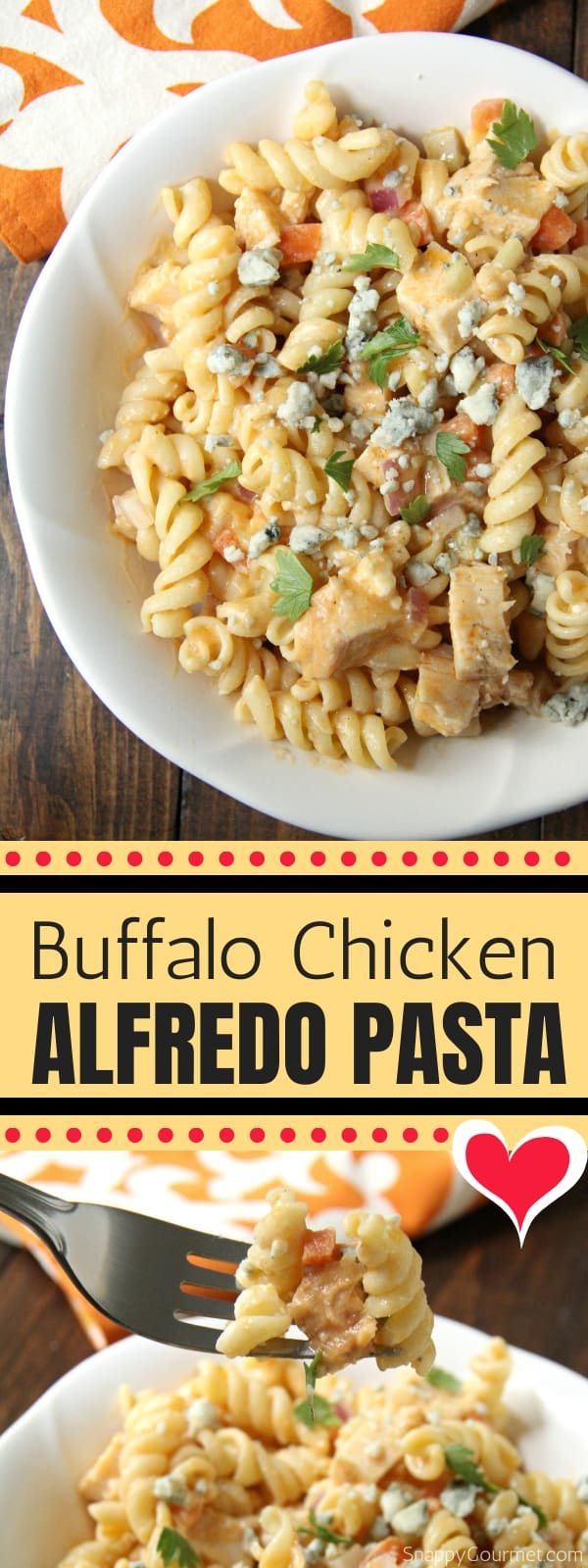 Buffalo Chicken Alfredo Pasta collage