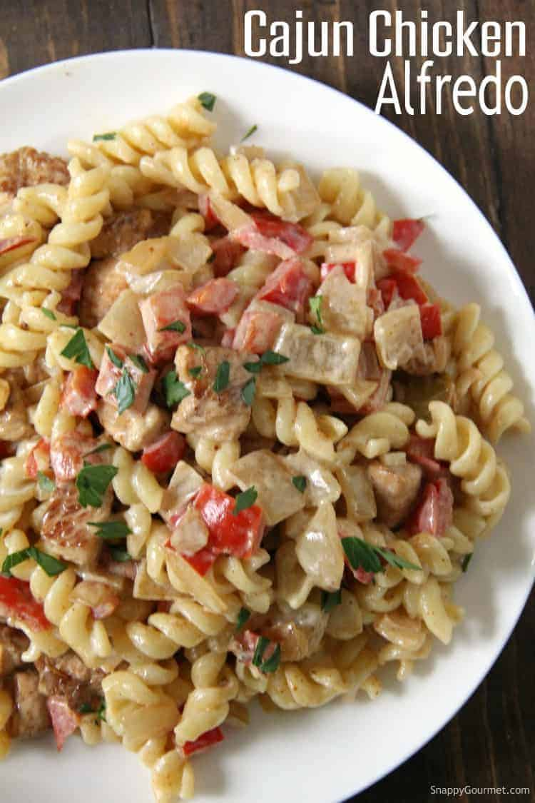 Cajun Chicken Alfredo Pasta on white plate