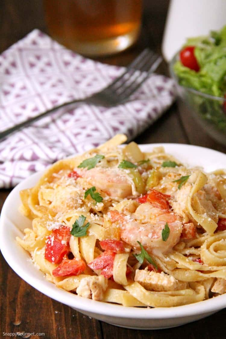 Cajun Chicken and Shrimp Alfredo Pasta with homemade alfredo sauce on plate