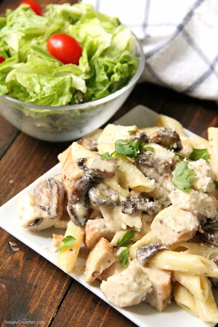 Chicken Mushroom Alfredo Pasta with homemade alfredo sauce on plate