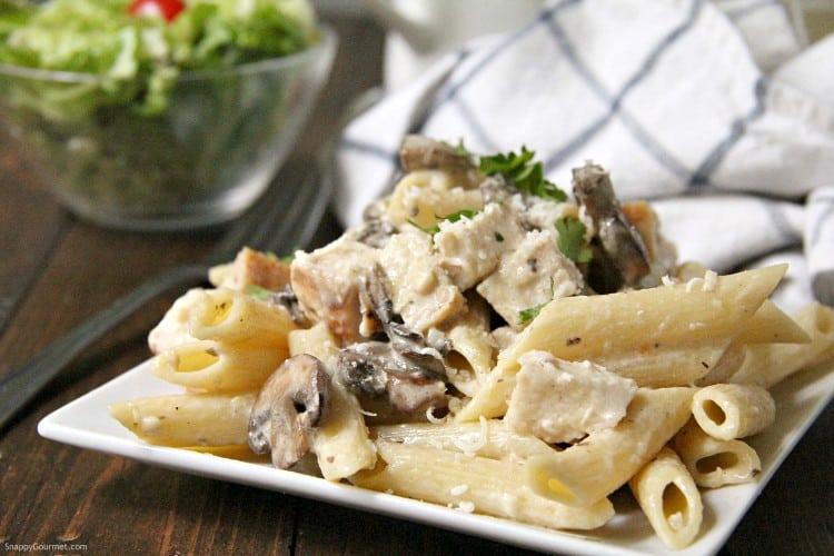 Chicken Mushroom Alfredo Pasta with cheesy alfredo sauce