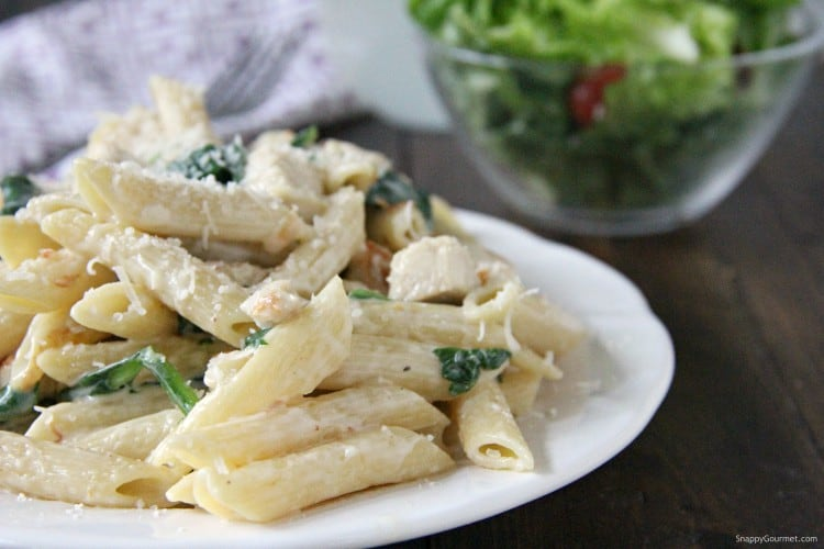 Chicken Spinach Alfredo pasta dinner on plate with salad