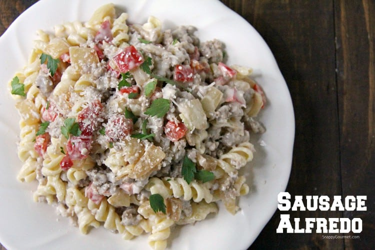 Sausage Alfredo Pasta with easy Alfredo Sauce on plate