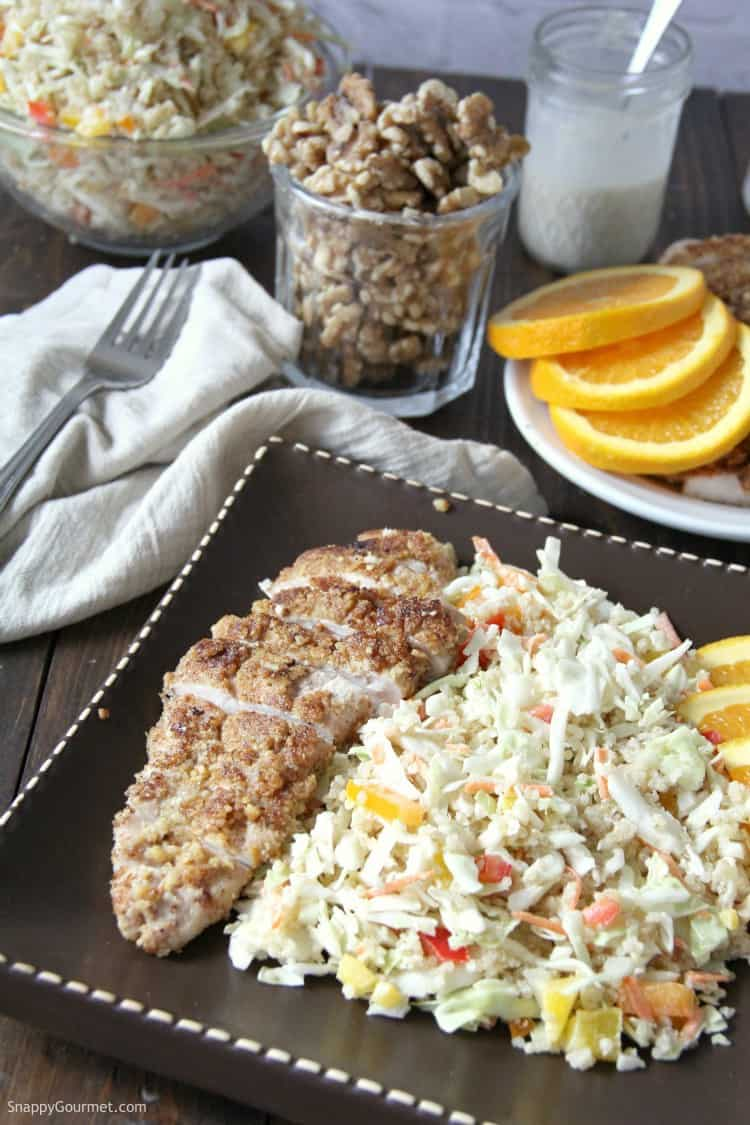 Asian Quinoa Salad with Walnut Crusted Chicken on plate