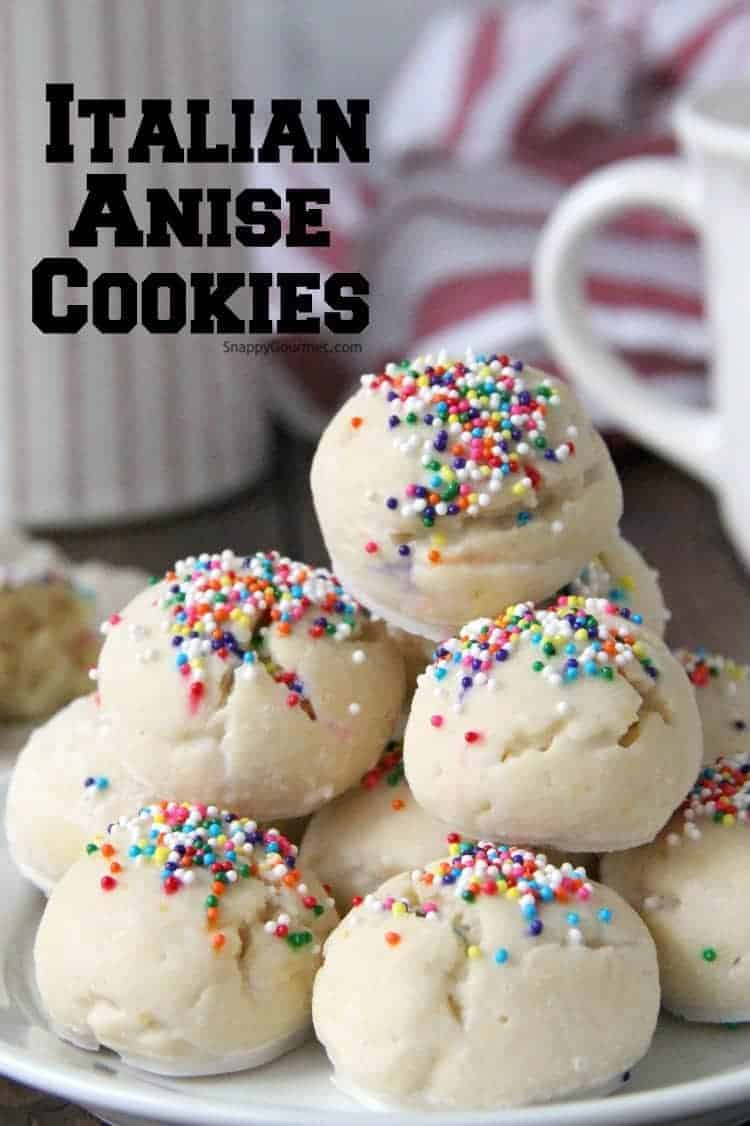 Glazed Italian Anise Cookies with sprinkles on plate