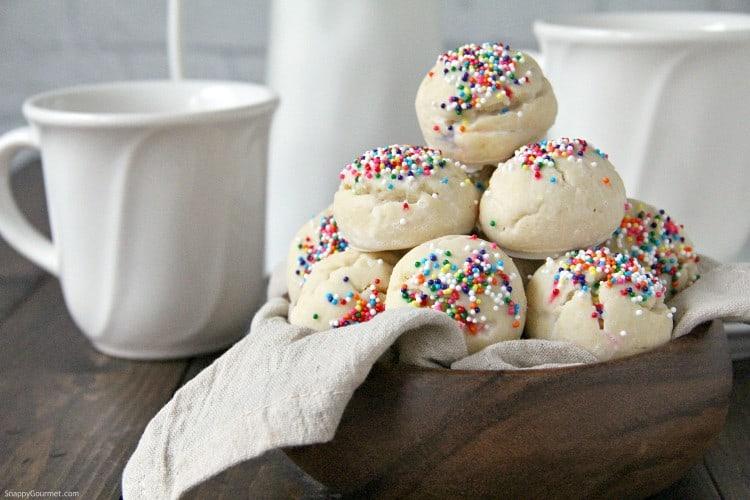 Italian Sprinkle Cookies in wood bowl