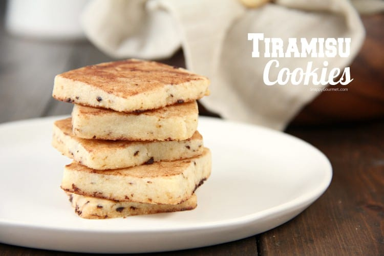 Tiramisu Cookies stacked on plate