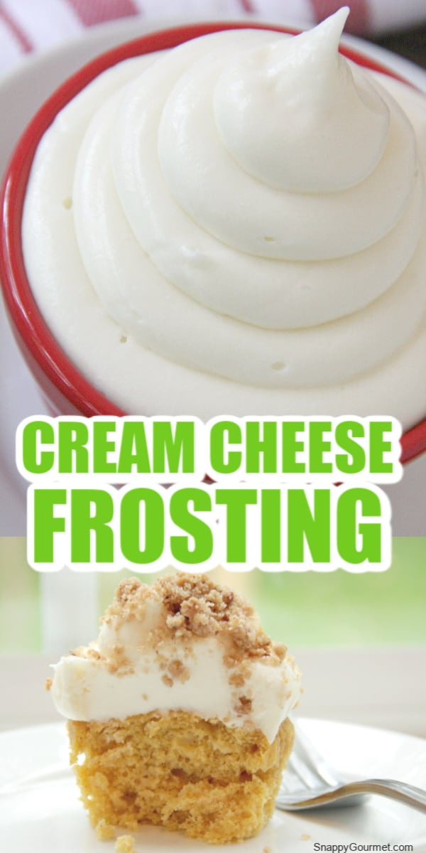 cream cheese frosting in bowl and cupcake