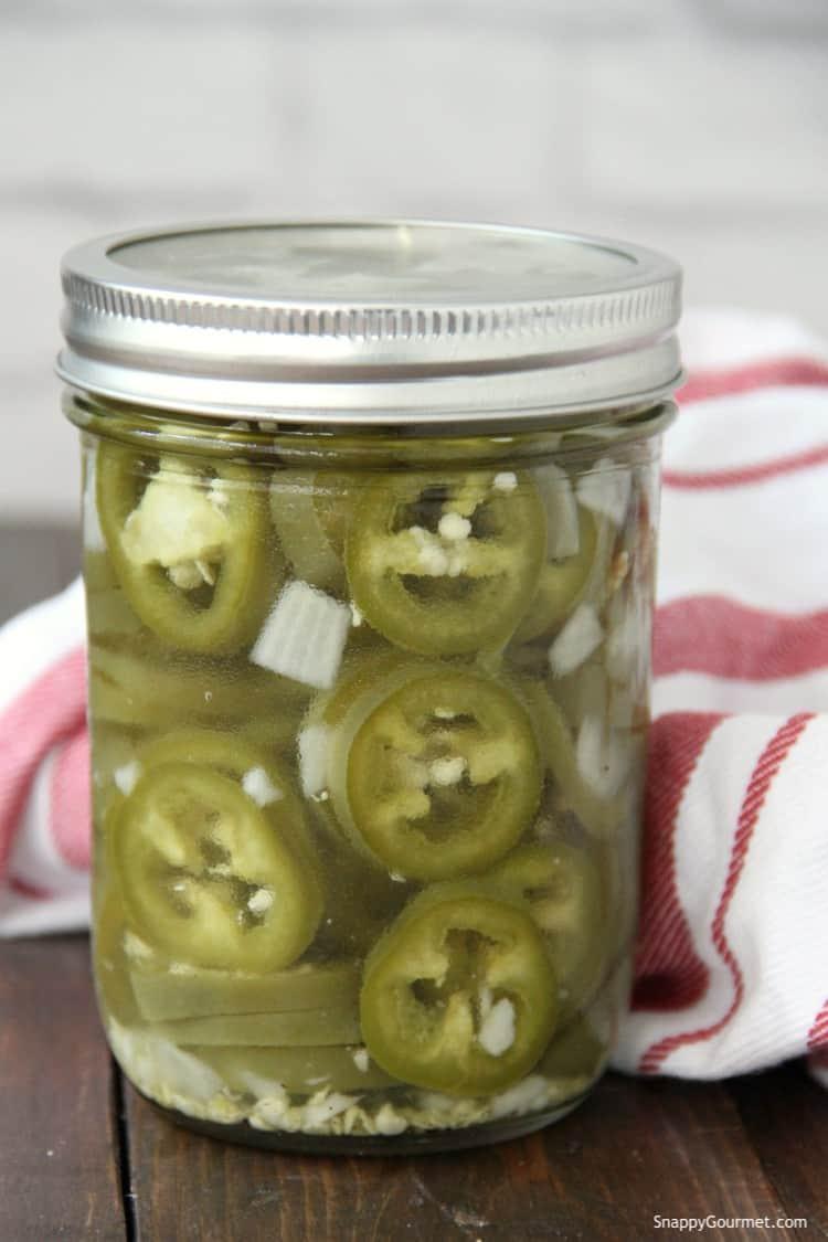 Pickled Jalapenos in mason jar