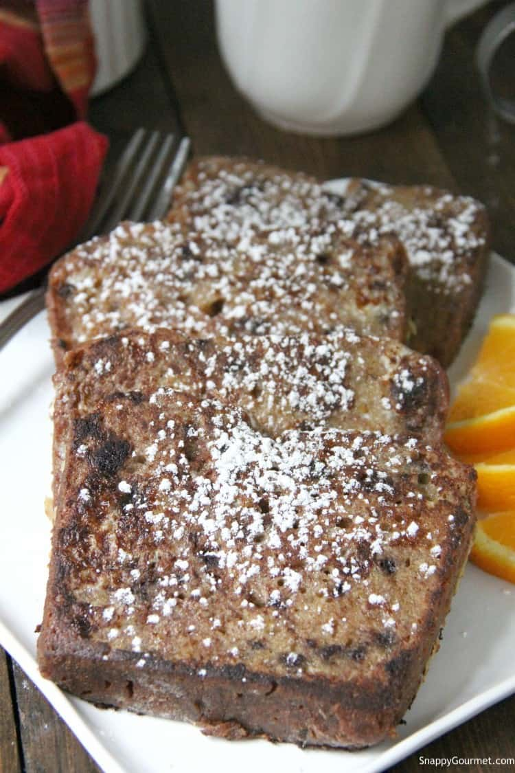 Slices of Cannoli French Toast dusted with powdered sugar