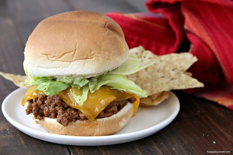 Mexican Sloppy Joe on white plate with tortilla chips