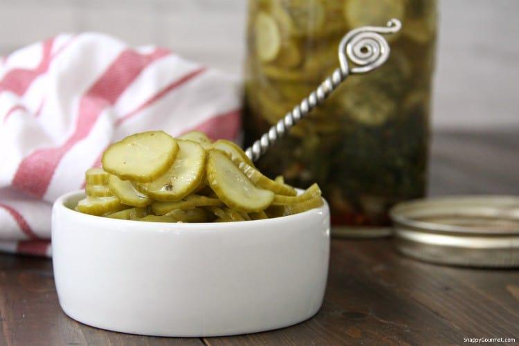 Refrigerator Italian Pickles in white bowl