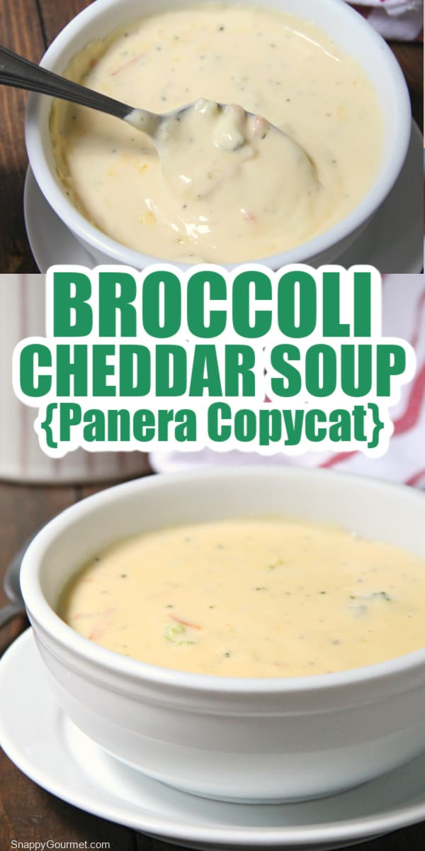 collage of broccoli cheddar soup