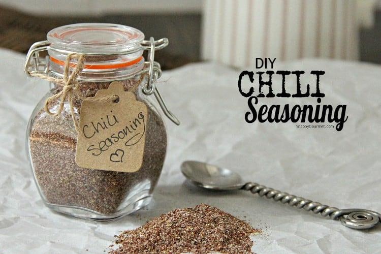 chili seasoning in glass jar
