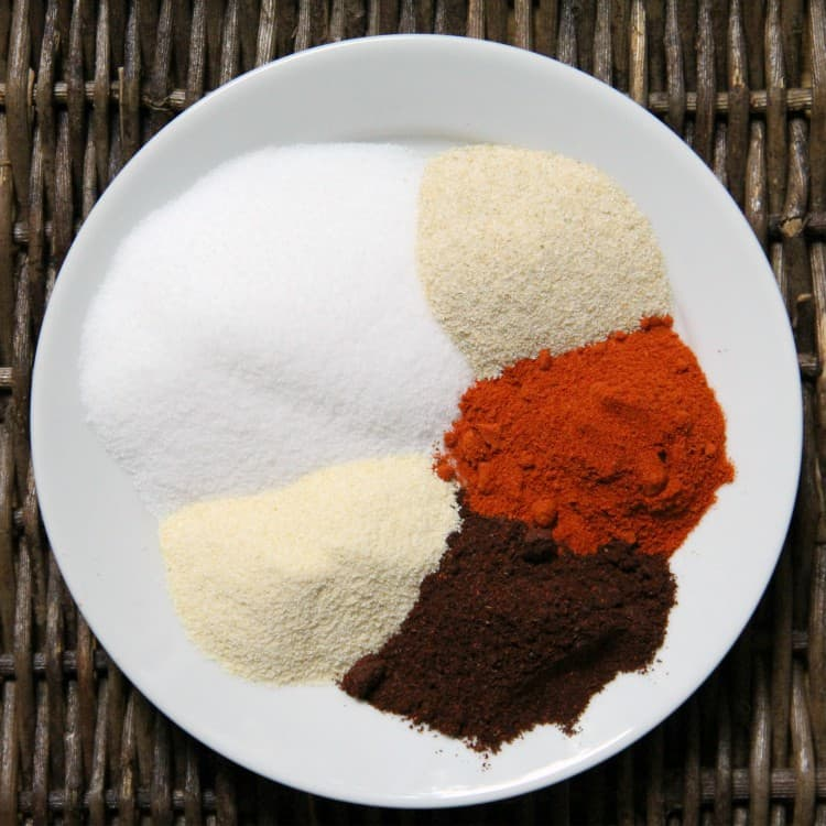 ingredients for fry seasoning on plate