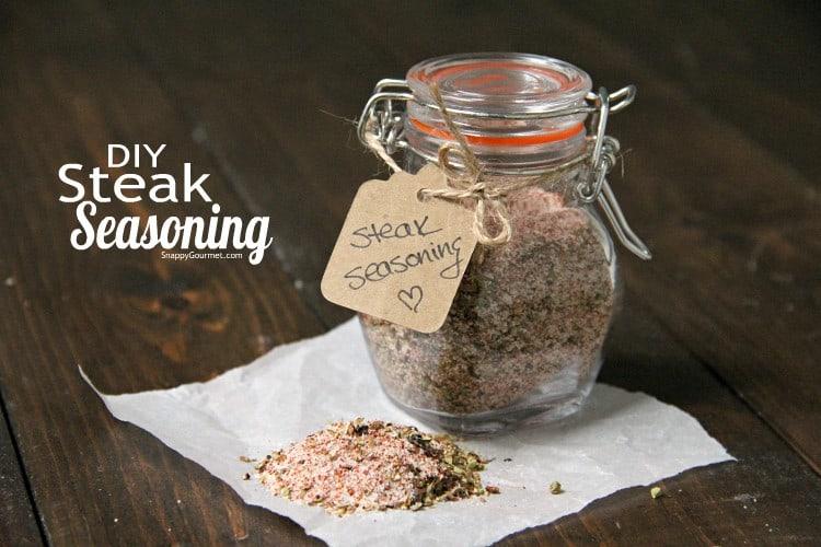 steak seasoning in glass jar with gift tag
