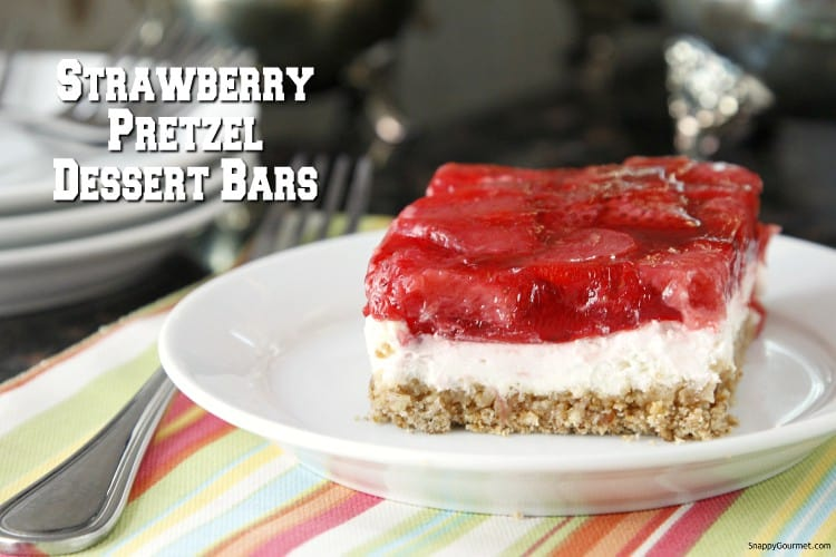 Strawberry Pretzel Dessert on plate