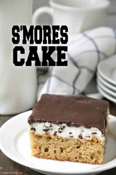 S'mores Cake on white plate