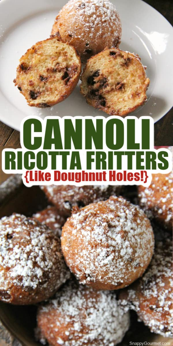 collage of cannoli ricotta fritters