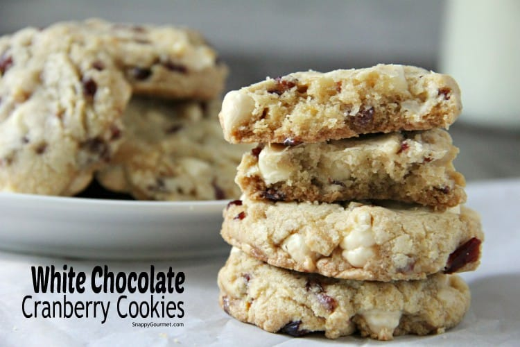 stacked white chocolate cranberry cookies