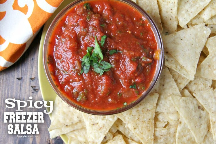 Spicy Freezer Salsa in bowl with tortilla chips