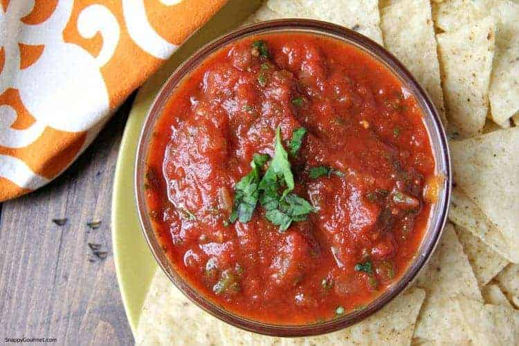 Spicy Freezer Salsa in bowl