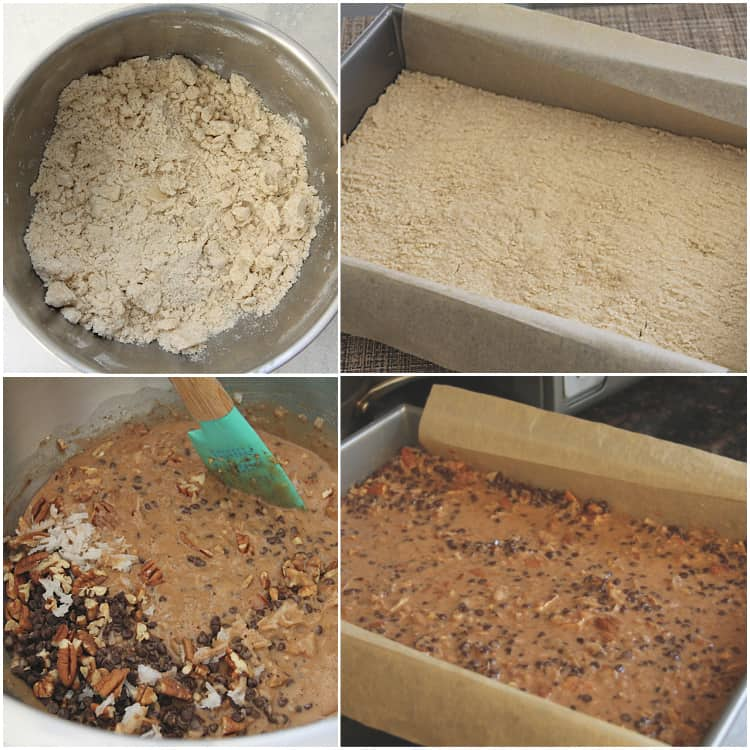 steps for how to make German Chocolate Pie Bars
