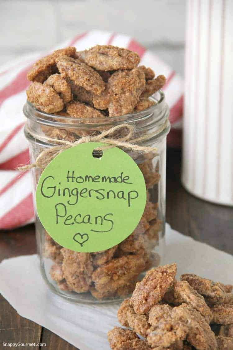 gingersnap pecans in mason jar with gift tag