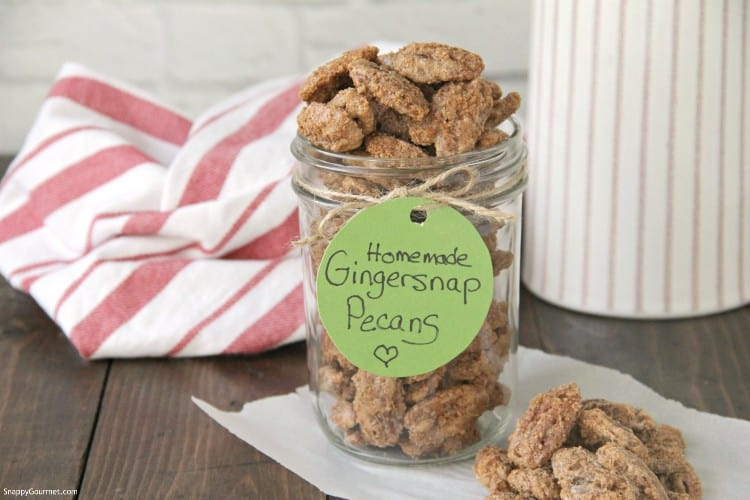 pecans in jar with gift tag