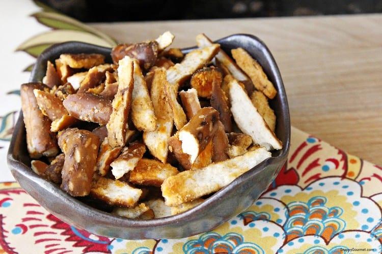 buffalo flavored pretzels in bowl