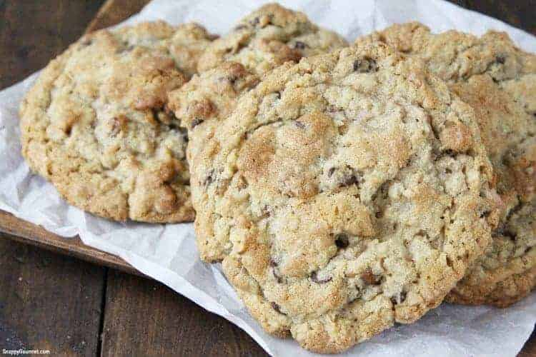 jumbo chocolate chip cookies on paper