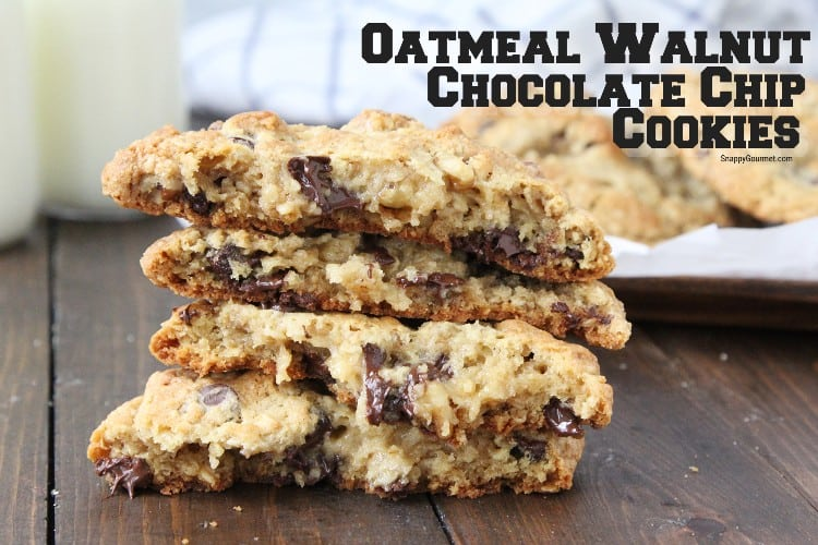 Oatmeal Walnut Chocolate Chip Cookies split in half to see chewy inside
