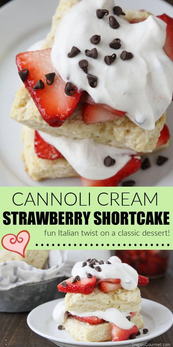 shortcake with strawberries and cannoli cream